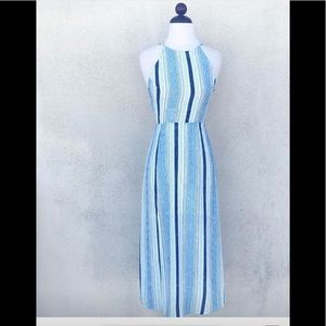 Blue and white striped maxi dress